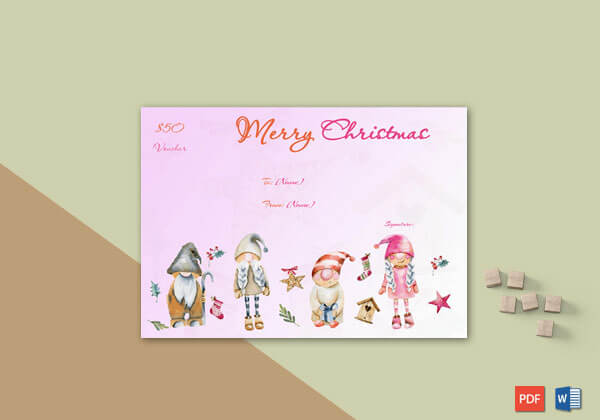 Christmas Gift Certificate Pink Themed