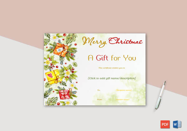 Christmas Gift Certificate (Yellow Green Themed)