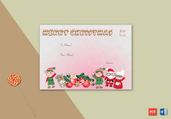 Christmas Gift Certificate Red Pink Themed