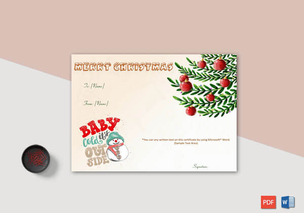 Christmas Gift Certificate – Green Red Themed
