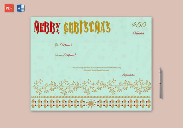 Christmas Gift Certificate (Sky Blue, Brown)