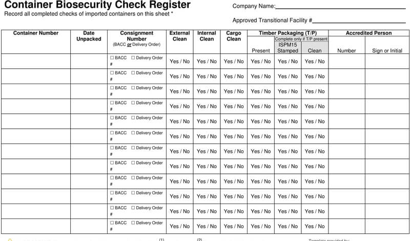 Container Biosecurity Checkbook Register Template