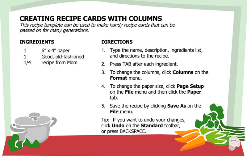 Cookbook Recipe Cards Template