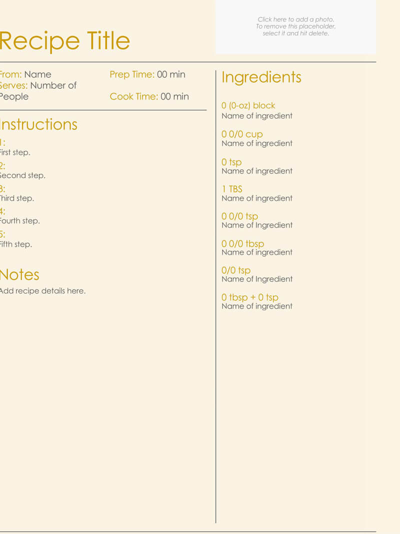 Cookbook Recipes Template Sample