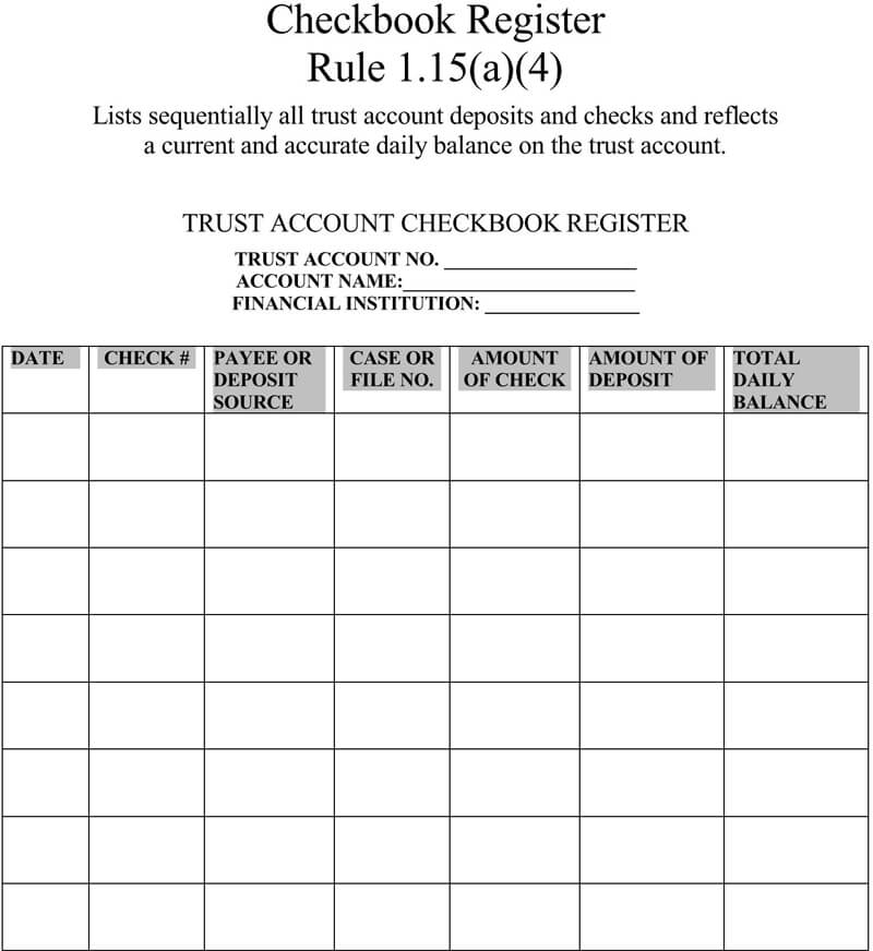 Free Checkbook Register Template 04