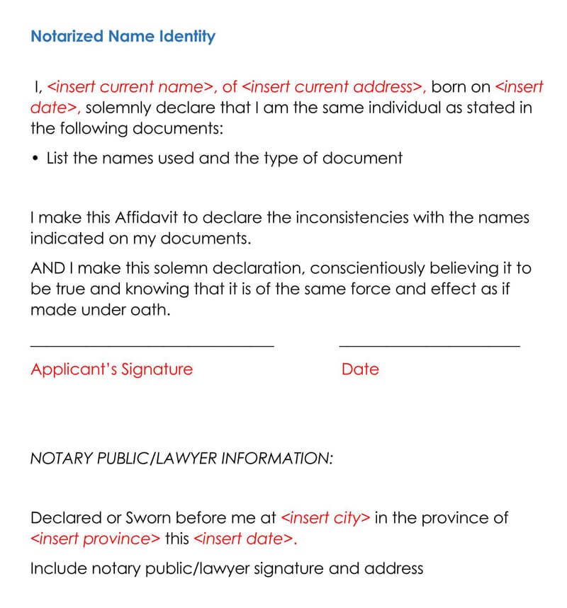 Notarized Name Identity Letter Sampe