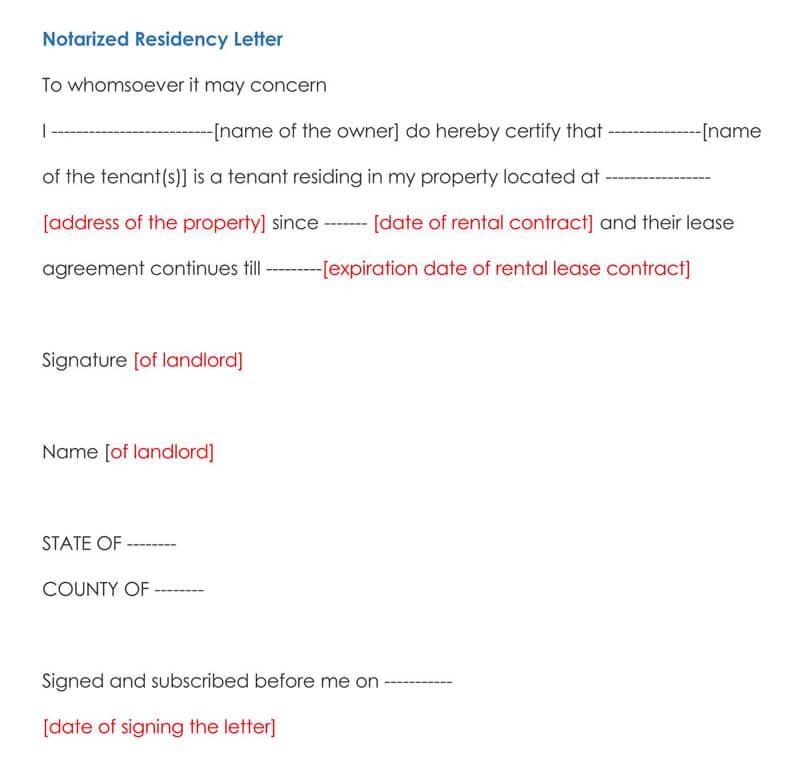Notarized Residency Letter