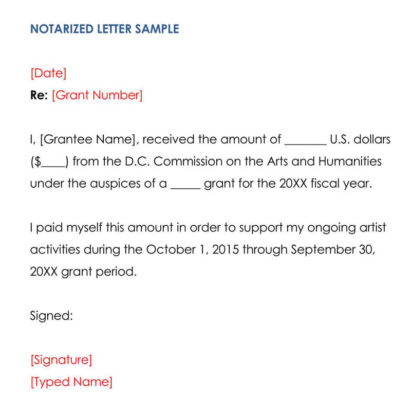 Sample Notarized Letter 03