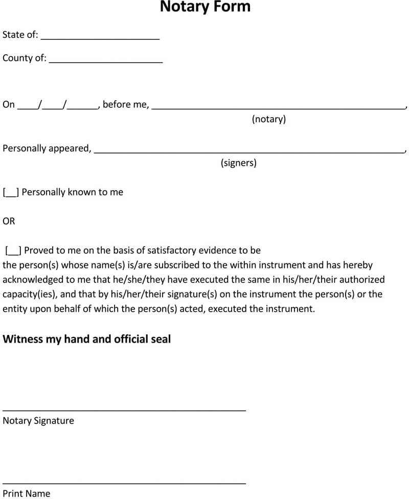 Sample Notary Form Template