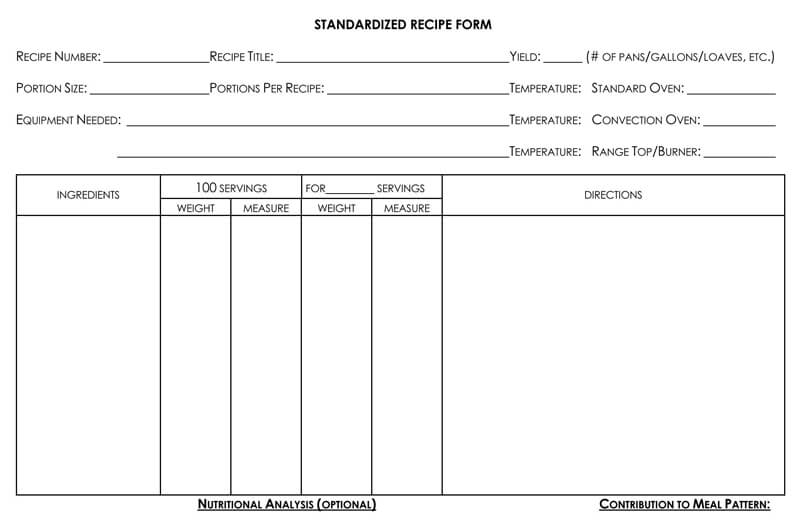 Standard Recipe Cookbook Form