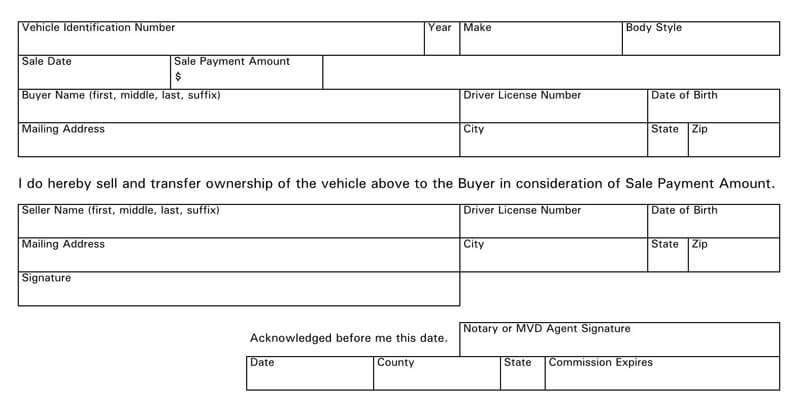 Arizona Motor Vehicle Bill of Sale Form