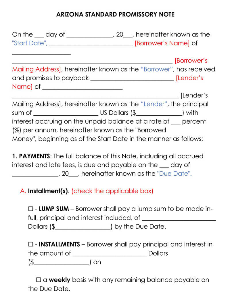Arizona Promissory Note Template