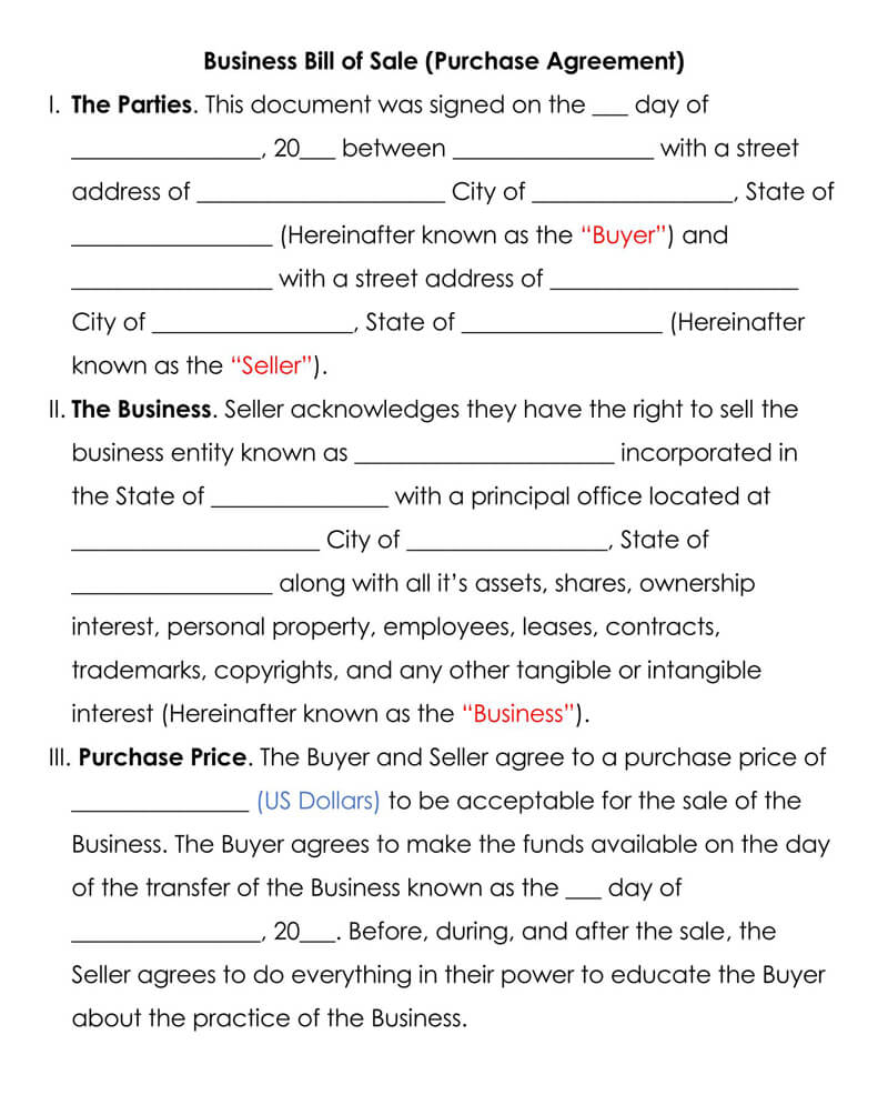 Business Bill of Sale Purchase Agreement Form