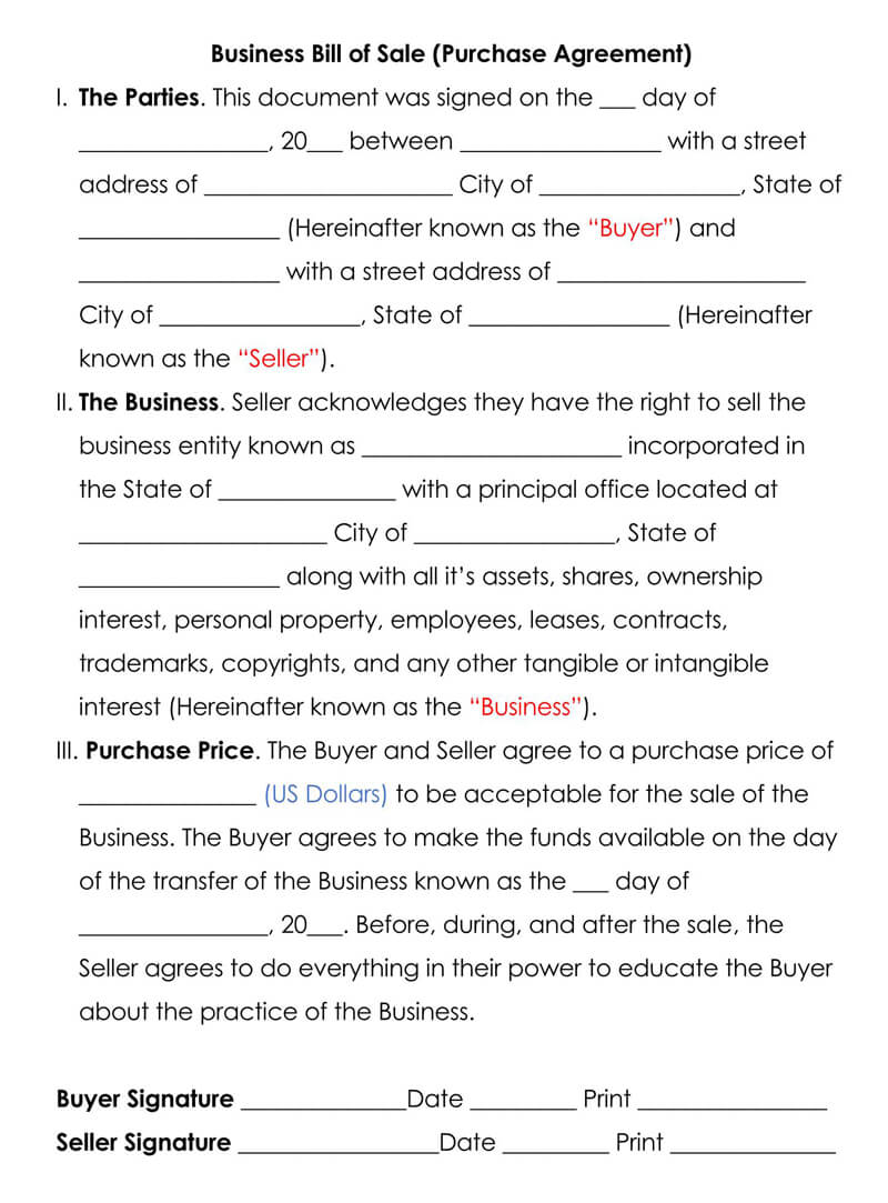 Business Bill of Sale Purchase Agreement