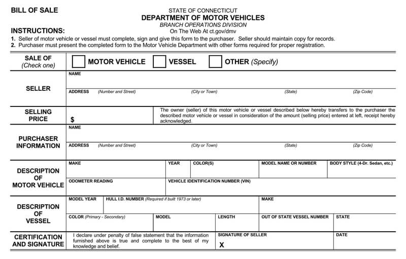 Coonecticut Vehicle Bill of Sale Form