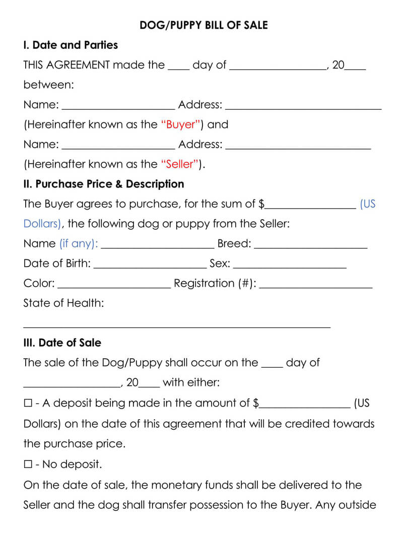 Dog Puppy Bill of Sale Form