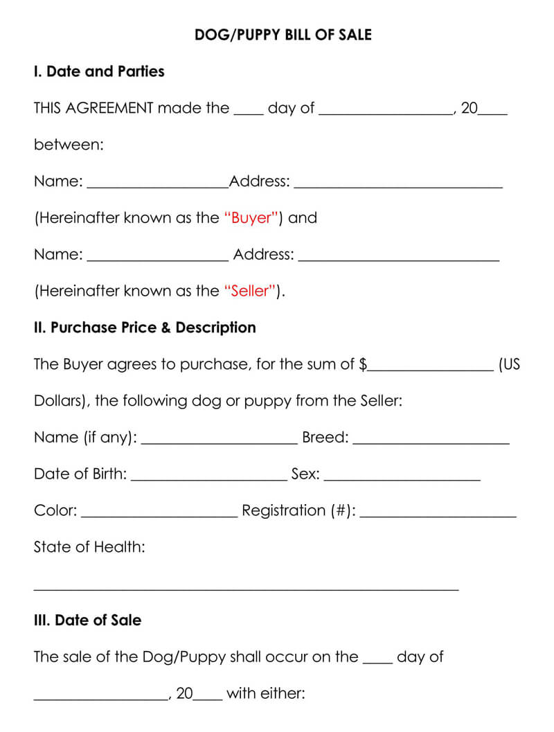 Free Dog Puppy Bill Of Sale Forms Templates Word Pdf