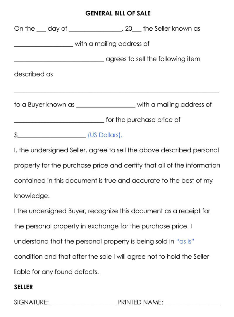 General Personal Property Bill of Sale