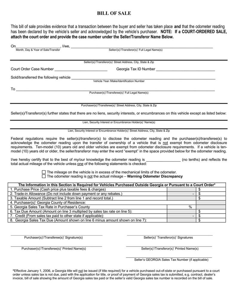 Georgia Vehicle Bill of Sale Form
