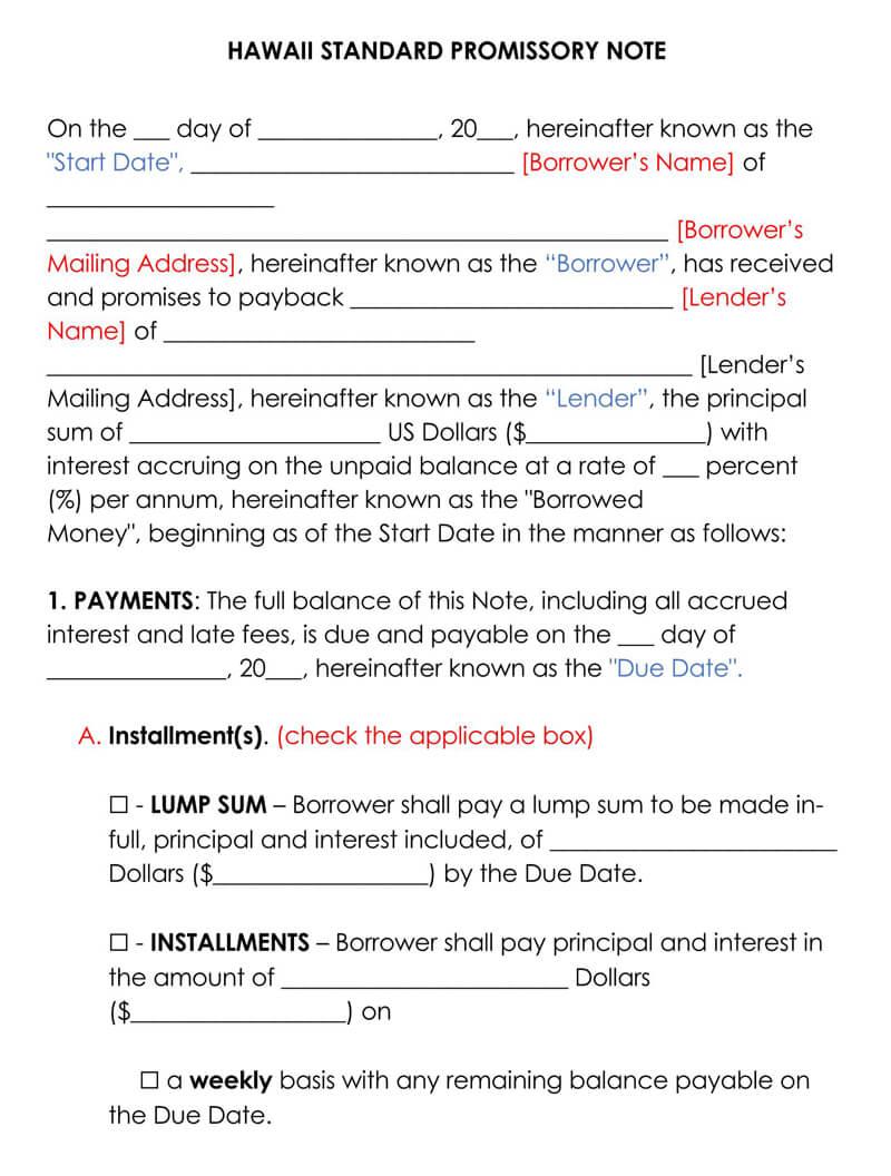 Hawaii Promissory Note Template