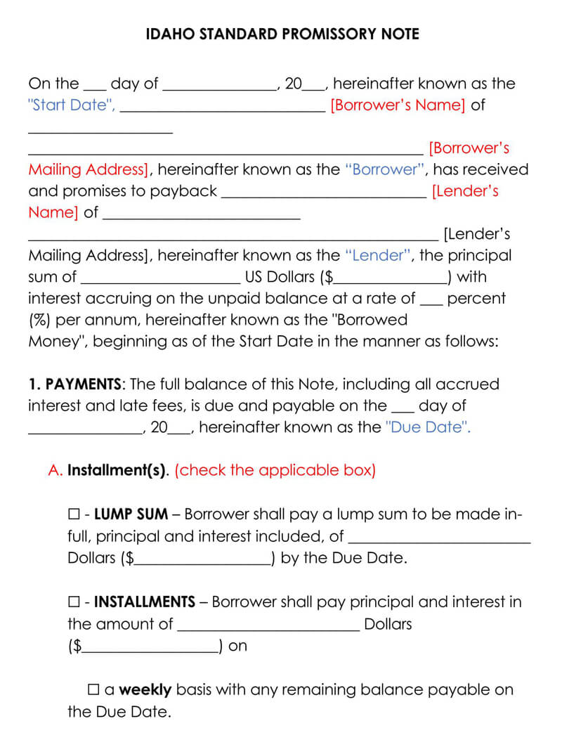 Idaho Promissory Note Template