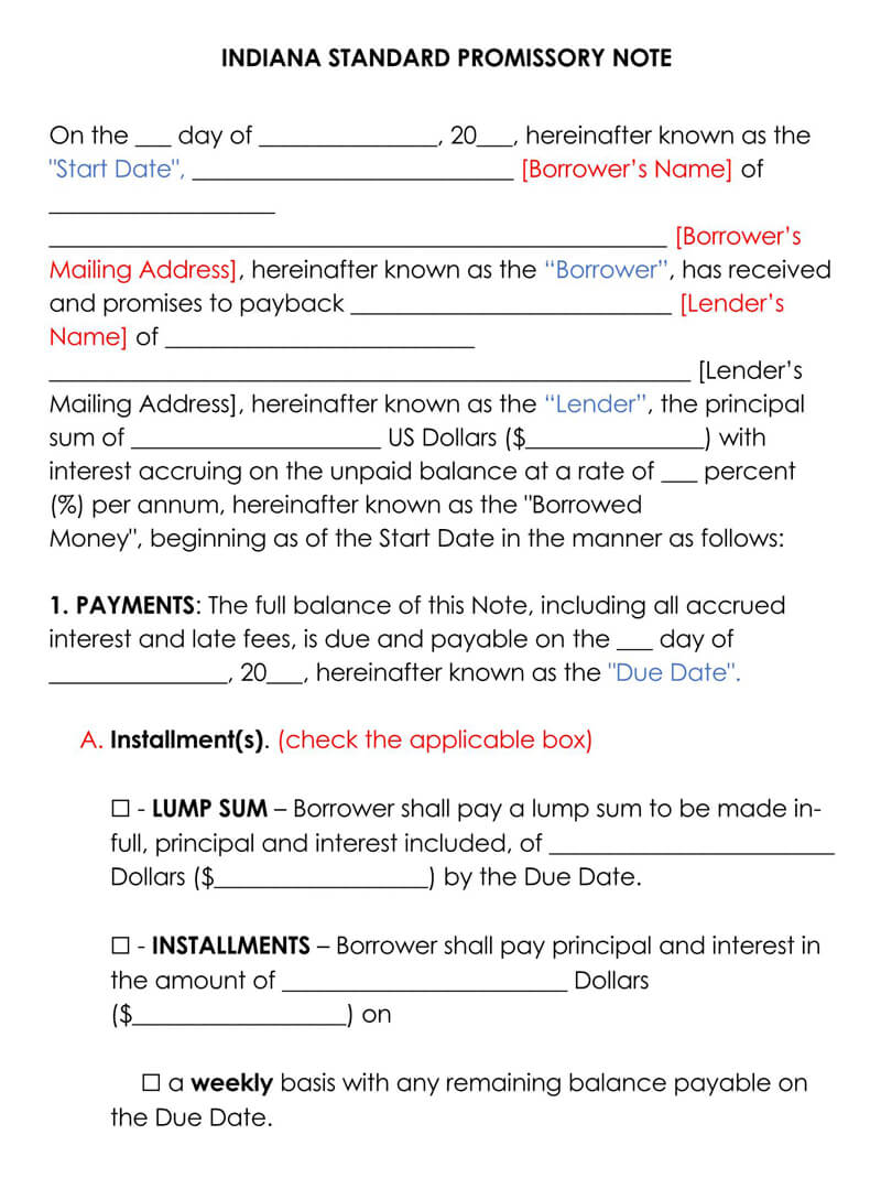 Indiana Promissory Note Template