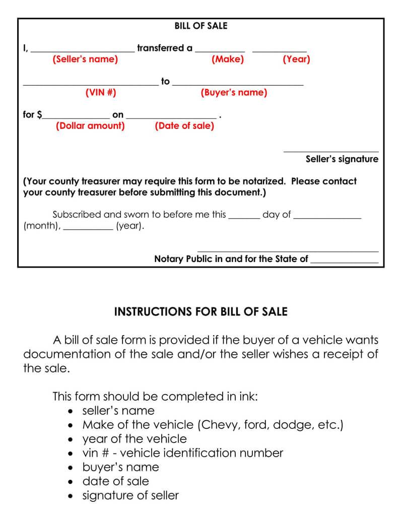 Iowa Motor Vehicle Bill of Sale Form
