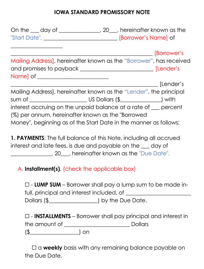 Iowa Promissory Note Template