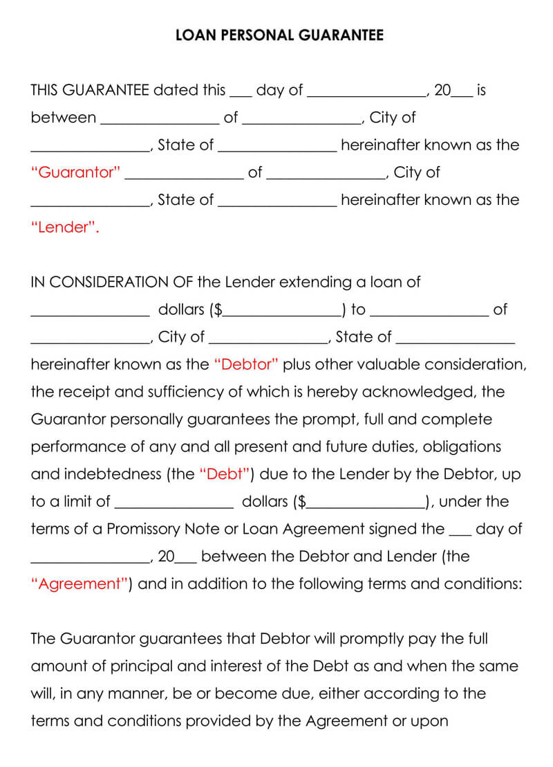 Free Loan Personal Guarantee Forms & Templates Word   PDF