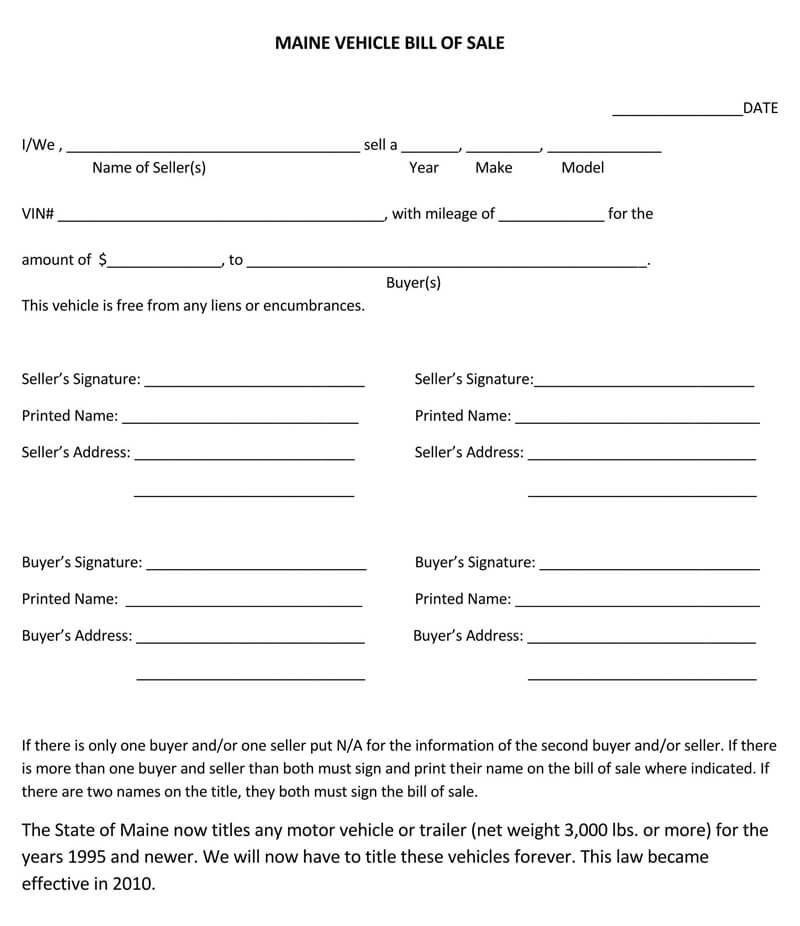 Maine Vehicle Bill of Sale Form