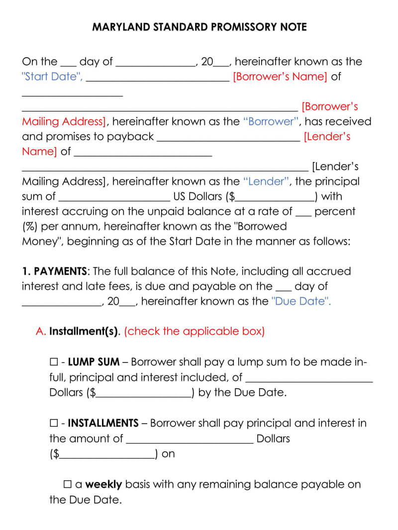Maryland Promissory Note Template
