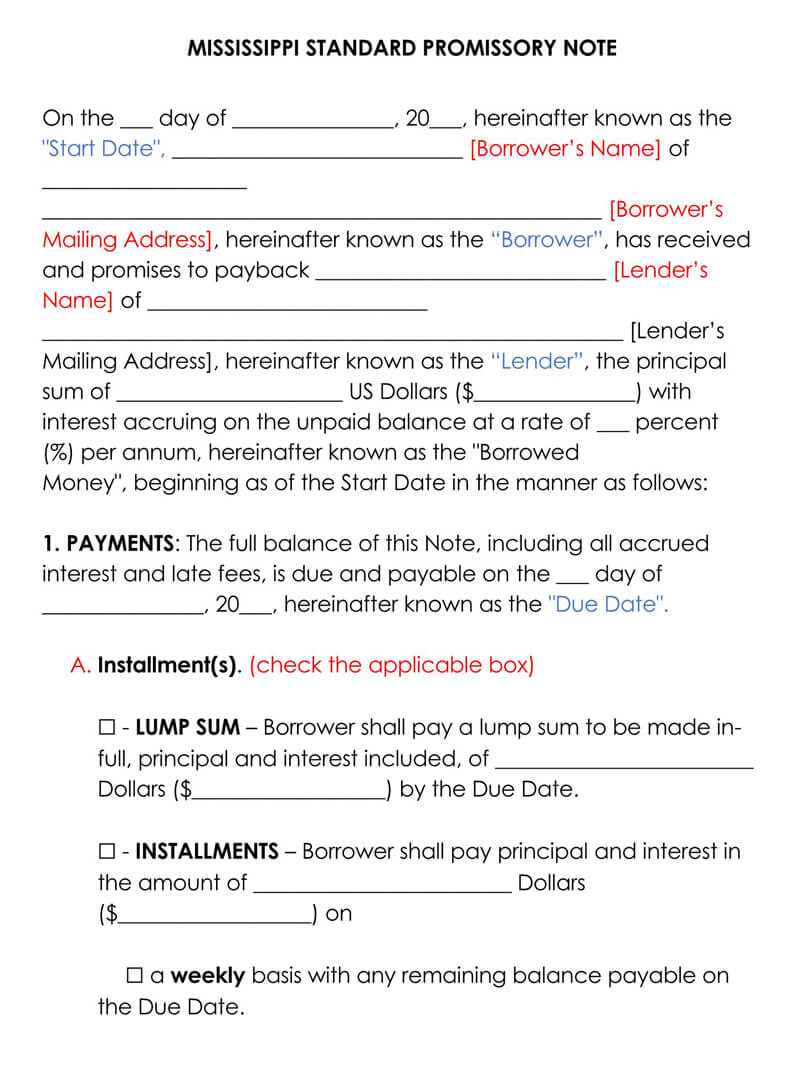Mississippi Promissory Note Template