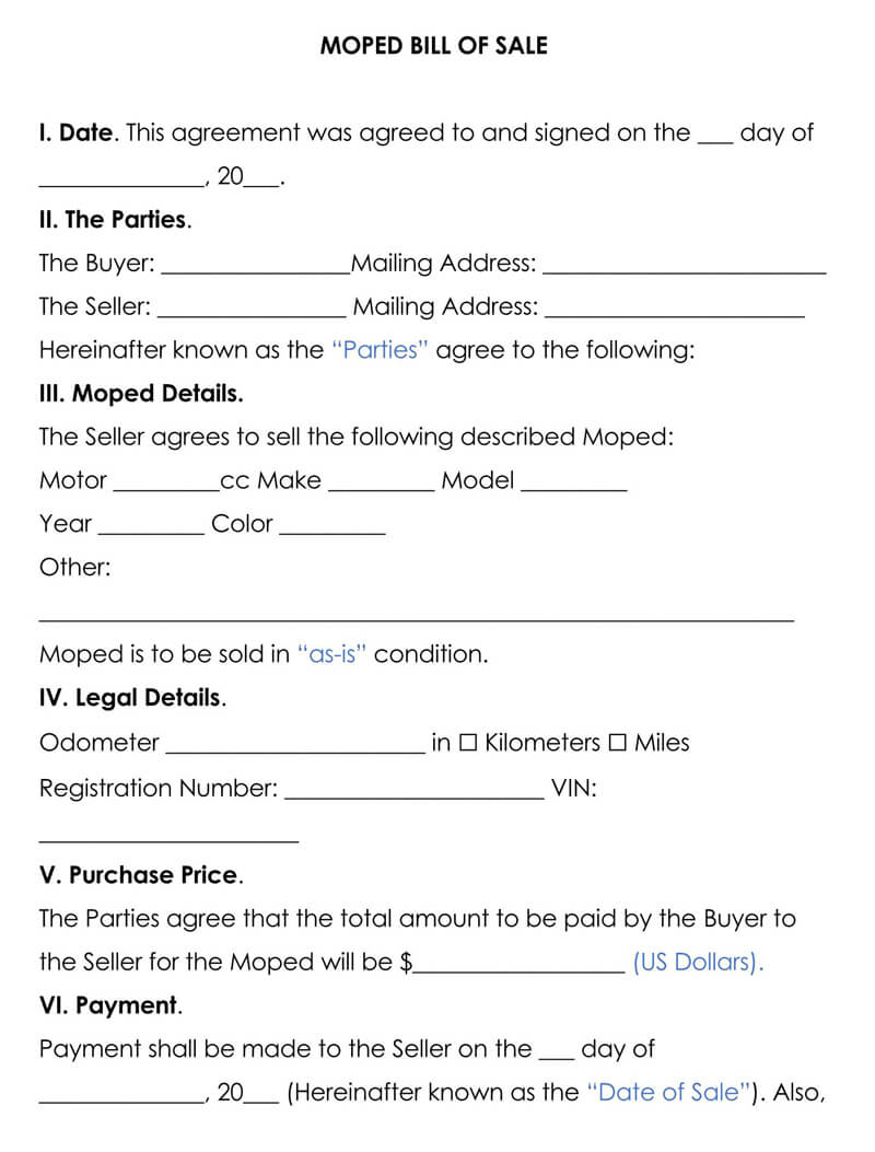 Moped Bill of Sale Form