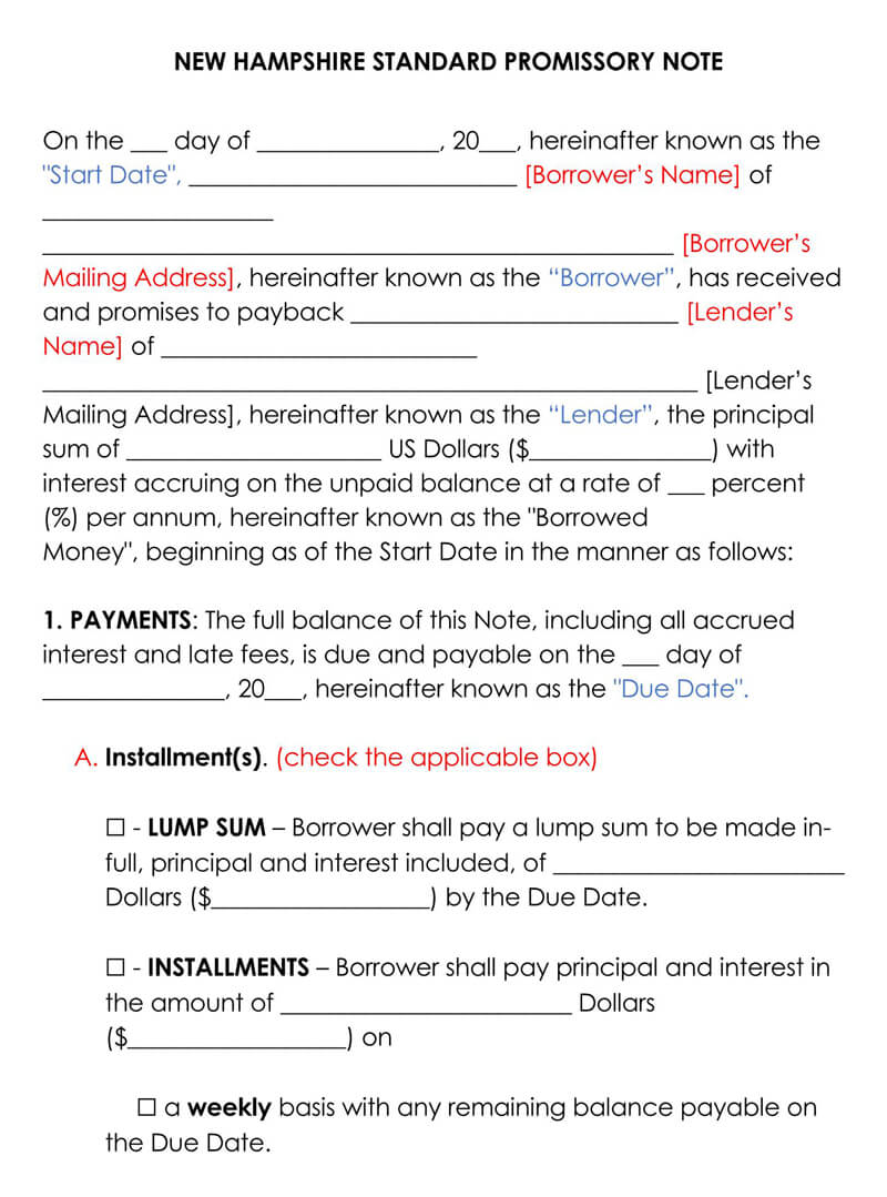 New Hampshire Promissory Note Template
