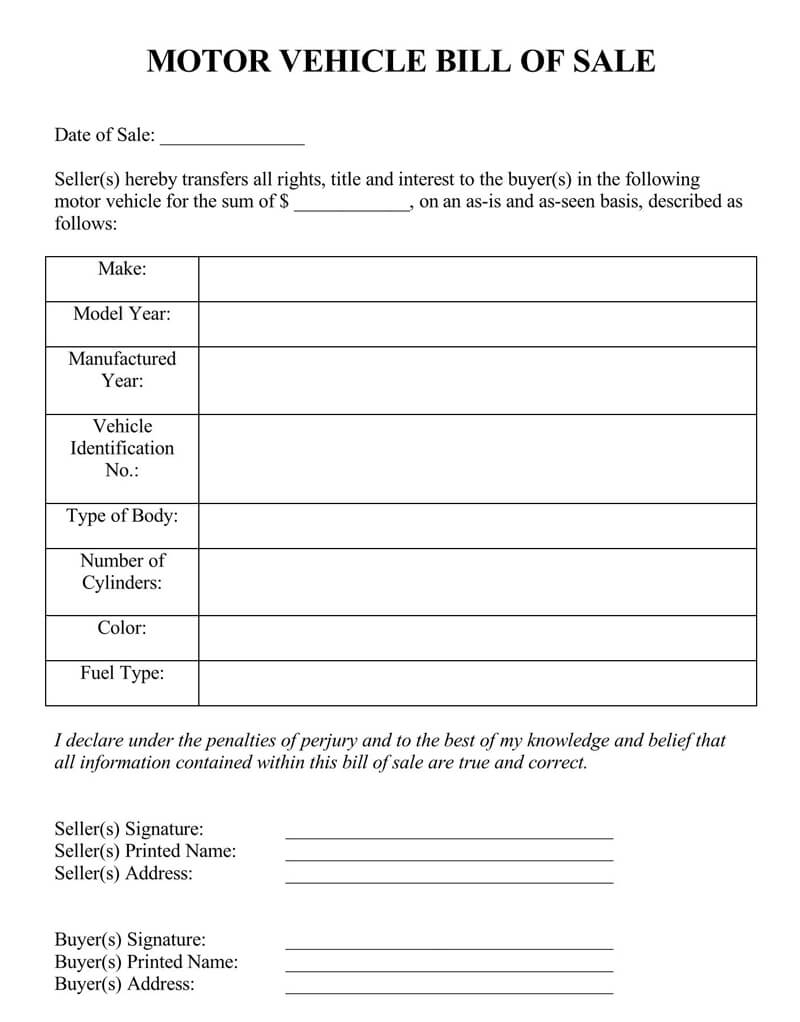 New Hampshire Vehicle Bill of Sale Form