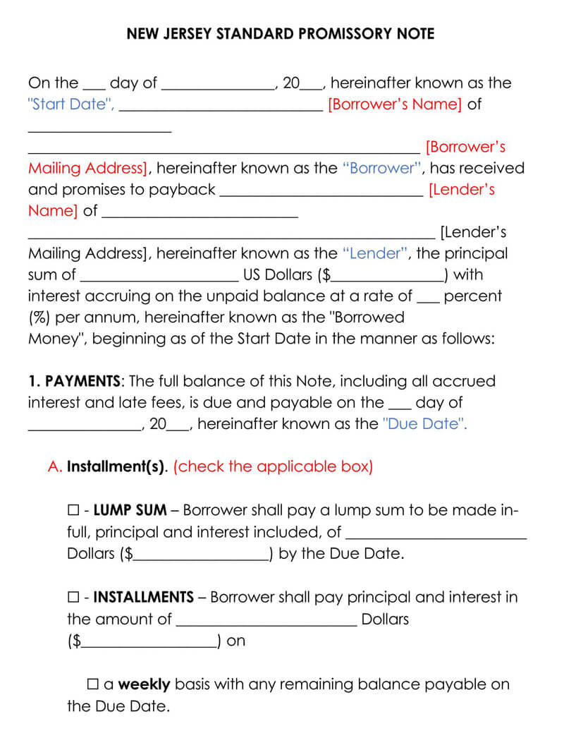New Jersey Promissory Note Template
