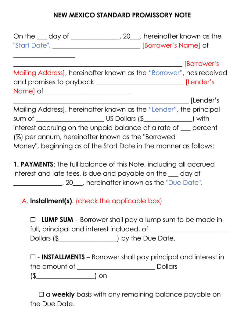 New Mexico Promissory Note Template
