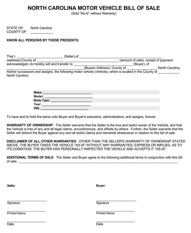 North Carolina Motor Vehicle Bill of Sal Form