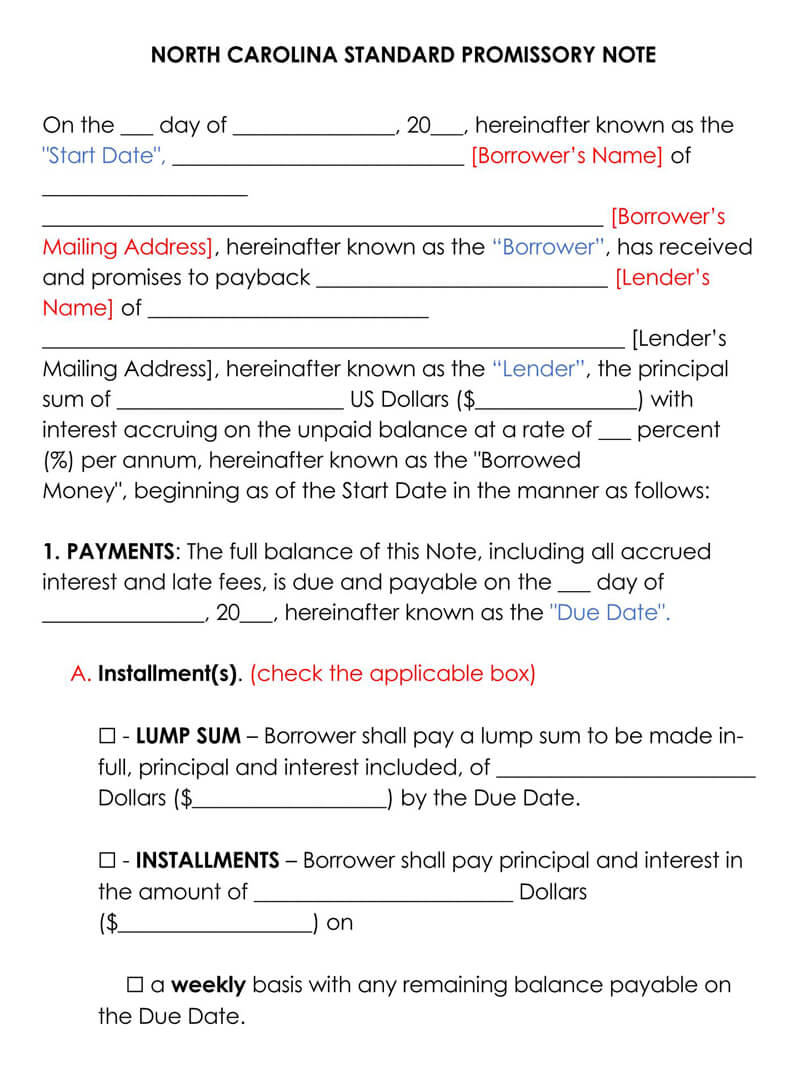 North carolina Promissory Note Template