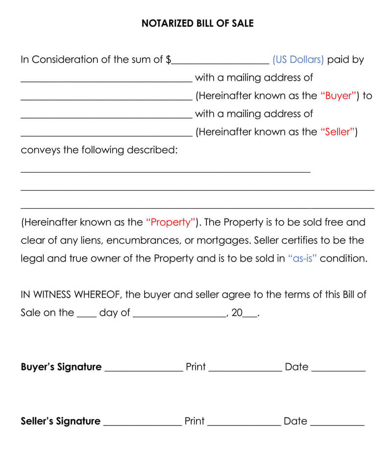 Notarized Bill of Sale Form