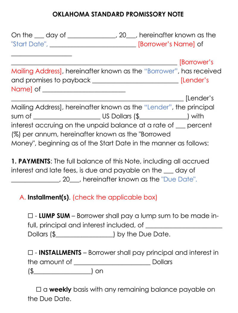 Oklahoma Promissory Note Template
