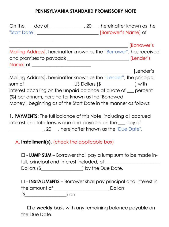 Pennsylvania Promissory Note Template