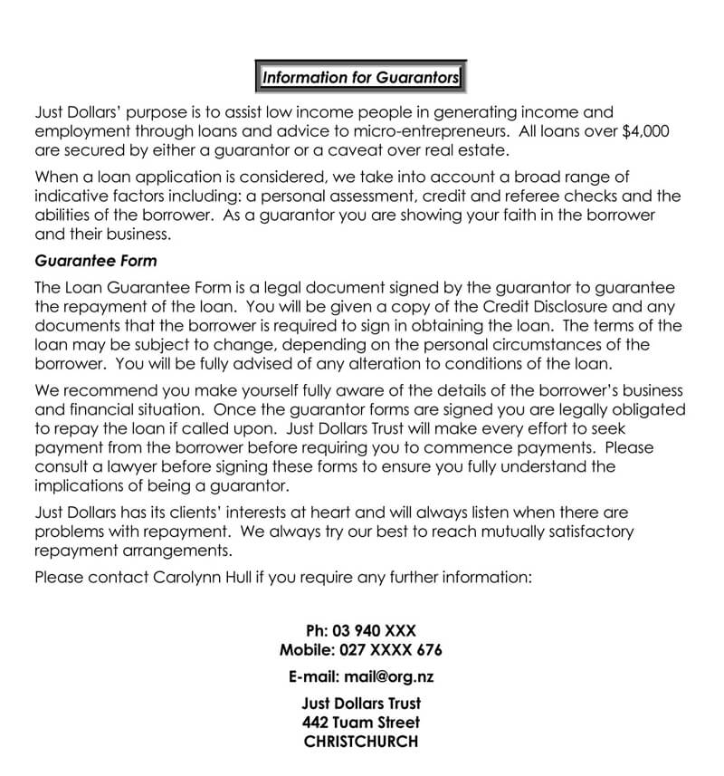 Personal Loan Guarantor Info Form