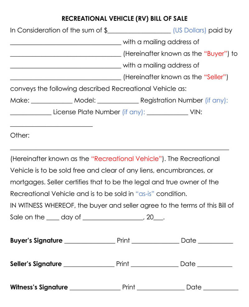 Recreational Vehicle (RV) Bill of Sale Form