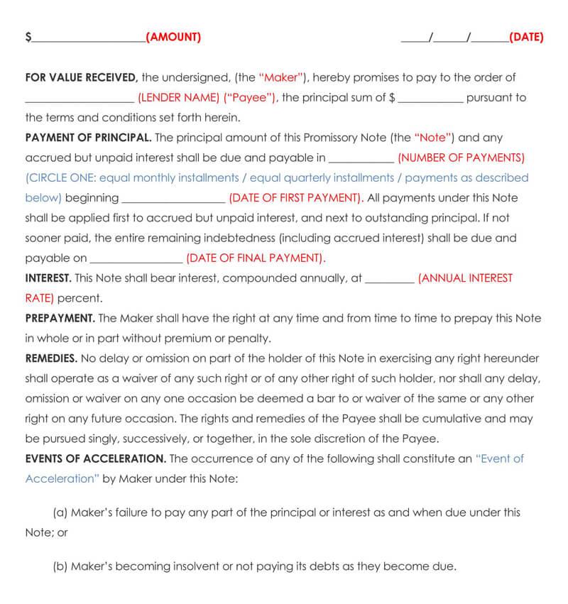 Sample Family Loan Agreement