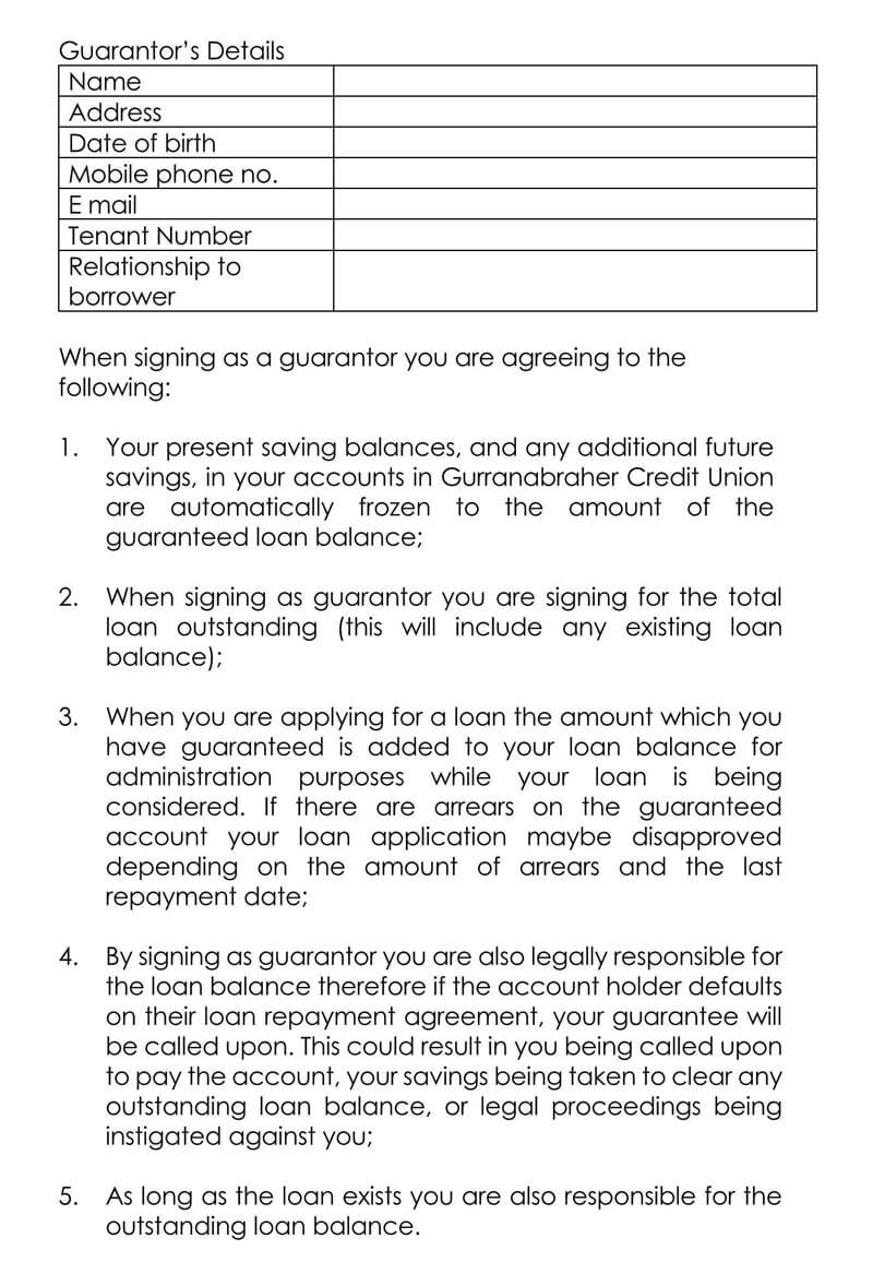 Sample Personal Loan Guarantee Form