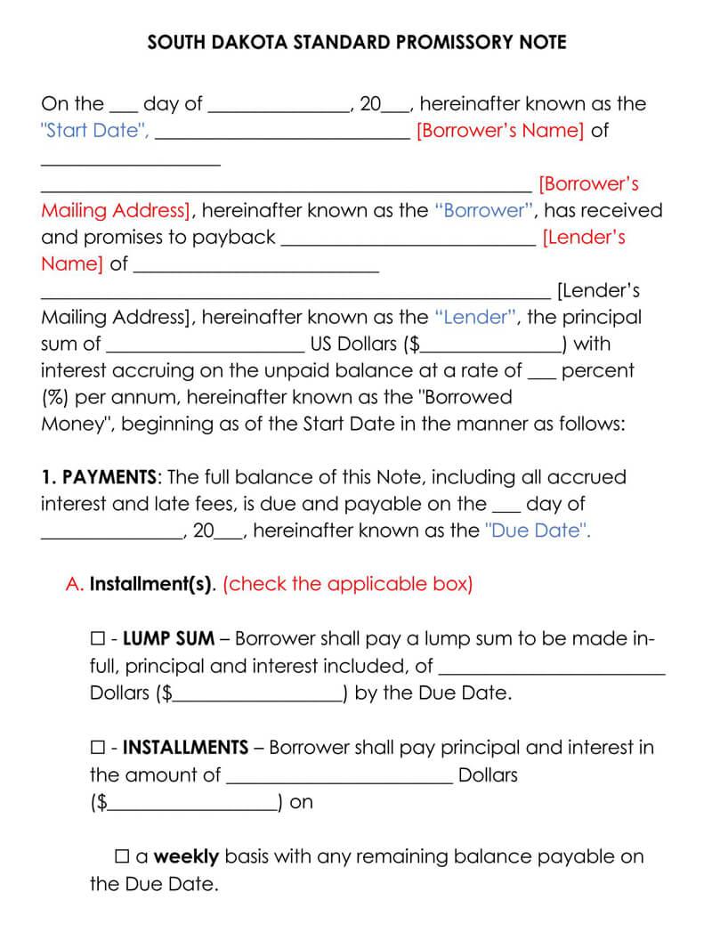 South Dakota Promissory Note Template
