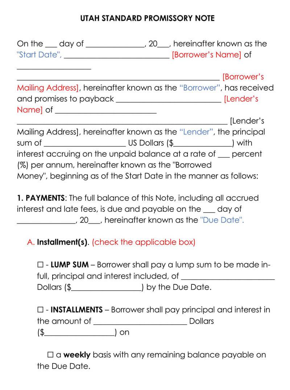 Utah Promissory Note Template