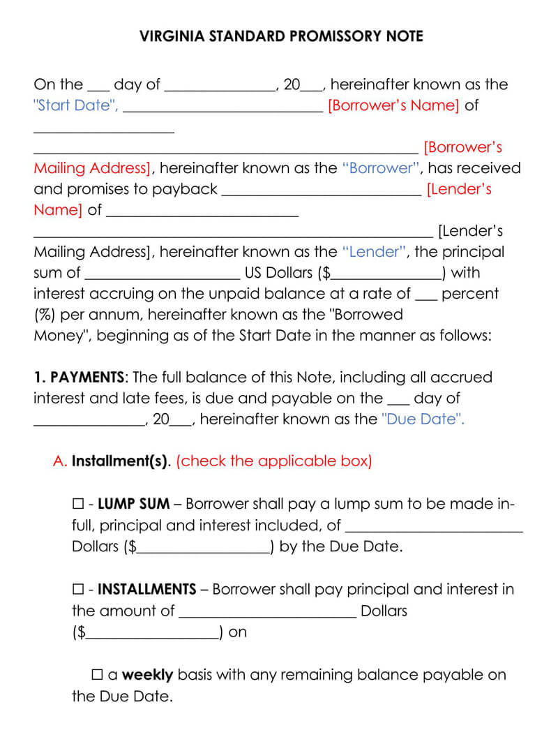 Virginia Promissory Note Template