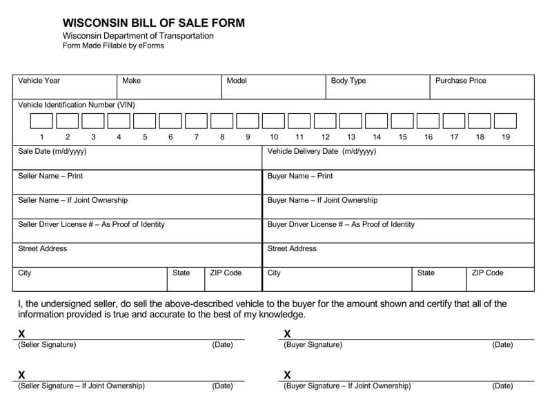 Wisconsin Motor Vehicle Bill of Sale Form